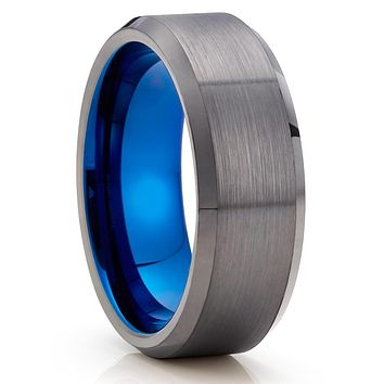 Gunmetal Tungsten Ring - Blue Tungsten Ring - Gray Wedding Band - Brush