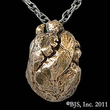 Bronze Anatomical HEART Pendant Necklace