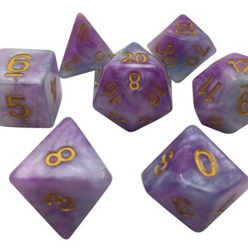 Lavender and White with Gold Numbers - Pack of 7 Polyhedral Dice (7 Die in Set) | Role Playing Game Dice | D4, D6, D8, D10, D%, D12, and D20