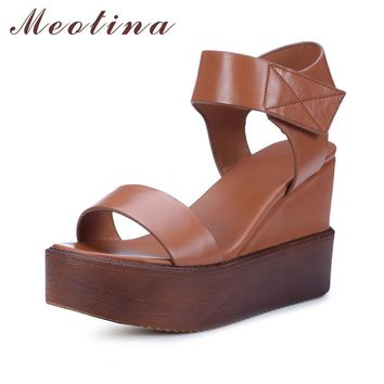 Meotina Genuine Leather Shoes Platform Sandals Wedge Heels Shoes Women Natural Real Le