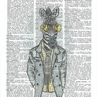 Dressed  up Zebra on Upcycle Vintage Page Book Print Art Print Dictionary Print Collage Print