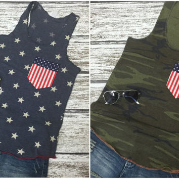 Star Pocket Tank Top, Pocket Tank, American Flag Tank, Patriotic Tank, USA, Red White and Blue, Time to Get Star Spangled Hammered