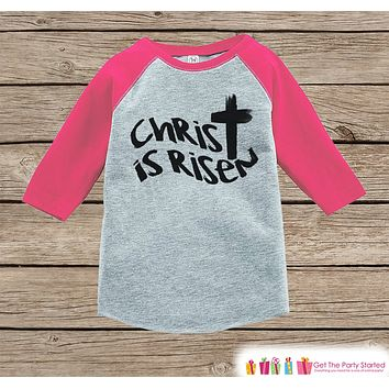 Girls Easter Outfit - Christ is Risen Shirt or Onepiece - Religious Easter Shirts - Baby, Toddler, Youth - Kids Cross Easter Shirt - Pink