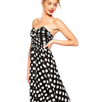 Polka Dot Strapless Ruched High Waist A-Line Pleated Midi Dress