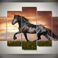 Black Beauty 5-Piece Wall Art Canvas