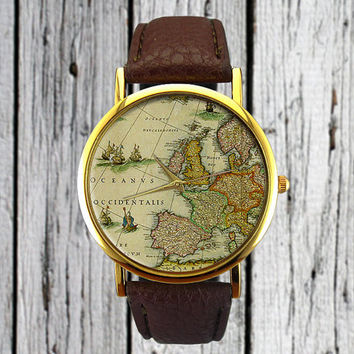 Vintage Europe Map Watch | Old Map | Cartography | Leather Watch | Ladies Watch | Men's Watch | Gift Idea | Custom Watch | Fashion Accessory