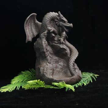 Ceramic dragon backflowing incense burner pruple sand sandalwood incense base home decor figurines smellremoving incense holder