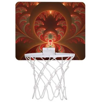 Luminous abstract modern orange red Fractal Mini Basketball Hoop