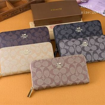 coach women multifunction purse clutch fashion classic letter logo print long section zip wallet