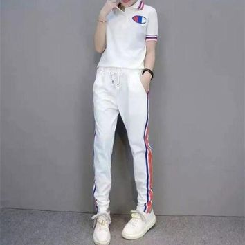 DCCK6HW Champion' Women Casual Multicolor Stripe Polo Shirt Short Sleeve Trousers Set Two-Piece Sportswear