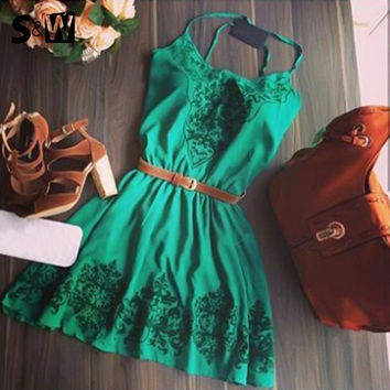 Fancyinn™ 2016 New Green Print Vintage Dress Elegant Strap Sexy Mini A-Line Dresses O-Neck Office Dress With Belt !!! [8424320199]