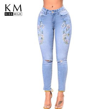 kissmilk 2018 Solid Blue Floral Embroidery Women Jeans Hole Bleached Full Length Female Clothing Casual Skinny Pencil Pants