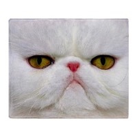 Funny White Cat Throw Blanket