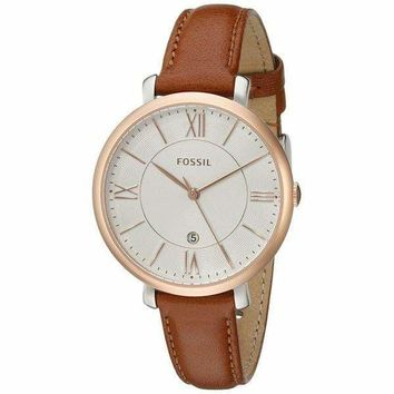 Gold Jacqueline' Brown Leather Fossil Watch For Women