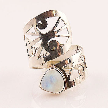 Moonstone Adjustable Sterling Silver Cutout Wrap Ring