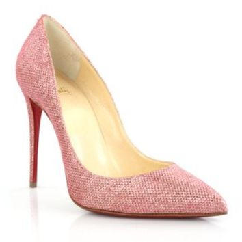 Christian Louboutin Pigalle Follies 100 Glitter Tissue Pink Poudre Pumps 19% off retail