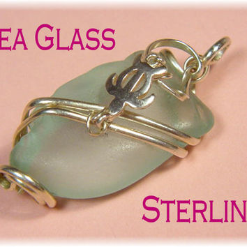"Hawaii SEA GLASS ~ Aqua Ocean Blue - Sea Glass Wrapped Sterling Silver Turtle 1 1/2"" Pendant - Hawaiian - FREE Shipping"