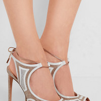 Nicholas Kirkwood - Cutout patent leather-trimmed textured-lamé sandals