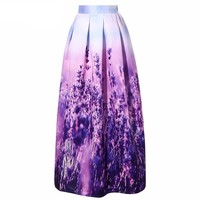 Women Vintage 100cm Maxi Skirt 2016 Elegant Lavender Printed Pleated Casual Floor-Length Long Skirt Saias Vestidos