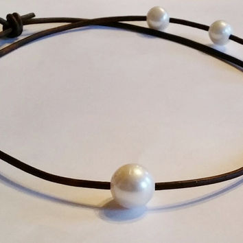 Seasidepearls30A Original! Freshwater Pearl and Leather Choker/Necklace, wear 3 Lengths!