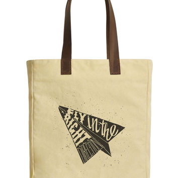 Women Paper Plane Beige Printed Canvas Tote Bags Leather Handles WAS_30