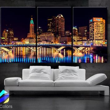 "LARGE 30""x 60"" 3 Panels Art Canvas Print Columbus Ohio Skyline night light Downtown bridge Wall Home decor interior (framed 1.5"" depth)"