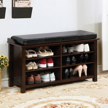 CM-AC307 Tara brown cherry finish wood leatherette padded seat shoe rack bench
