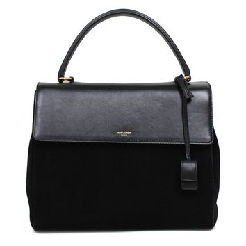 SAINT LAURENT CLASSIC SAC SATCHEL HANDBAG BLACK SUEDE LEATHER TOP-HANDLE BAG SHOULDER STRAP 355156