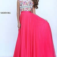 Long Sherri Hill Prom Dress with Embroidered Top