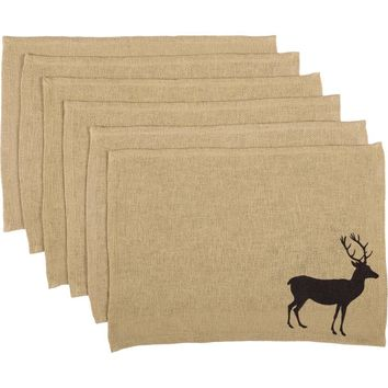 Barrington Placemat Burlap with Stencil Set of 6 12x18
