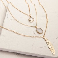 Gold 3-Layer Druzy Leaf Necklace