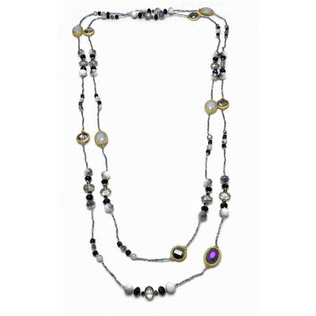 "Necklace Handcrafted Glass and Crystal Beads Black 80"" Long"