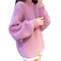 Loose Round Neck Batwing Knitted Pullover Sweater
