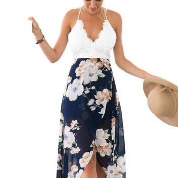 VONEGZ Floral Print Chiffon Patchwork Lace V Neck Open Back High Low Beach Casual Long Maxi Dresses