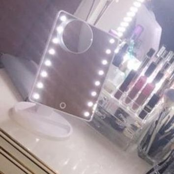Uarter Lighted Makeup Mirrors Touch Screen 16 LEDs Square Desktop Cosmetic Mirror with Removable 10x Magnifying Mirrors (Batteries not Included)