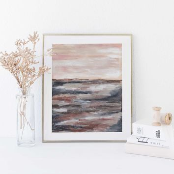 Neutral Desert Abstract Landscape Painting Wall Art Print