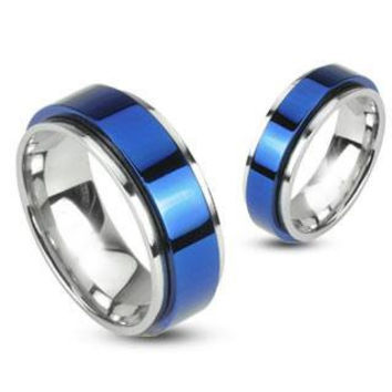 Blue Signature Spinner - Edgy Two Tone Stainless Steel and Blue IP Spinning Ring