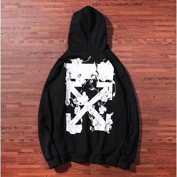 Off White New fashion cross arrow floral print hooded high quality long sleeve sweater Black