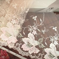 Lace trim, Embroidered trim, Embroidered lace, Tulle lace, Floral lace, Brown lace, Embellishing lace, 2 yards BN111