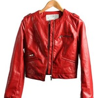 Red Biker Chick Leather Jacket  | $19.50 | Cheap Trendy Jackets Chic Discount Fashion for Women | Mo