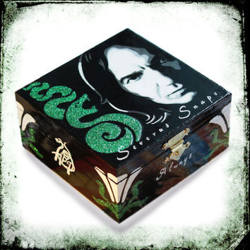 Severus Snape Slytherin jewelry box, Slytherin box, Harry Potter gift, Snape Always, jewelry holder, glitter wooden box, ringbox, home decor