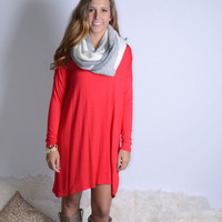 SZ LARGE Everest Eves Red Solid Long Sleeve Dress