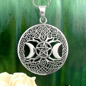 Celtic Tree of Life with Triple Moon Goddess Pentacle Necklace