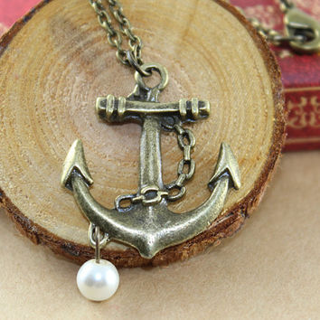 Vintage Anchor Nekclace with white pearl