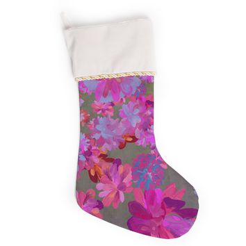 "Marianna Tankelevich ""Purple Flowers"" Pink Blue Christmas Stocking"