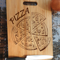 ikb21 Personalized Cutting Board Wood Pizza Italian food kitchen pizzeria
