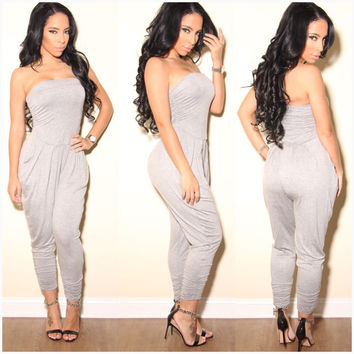 Light Grey Strapless Ruched Jumpsuit