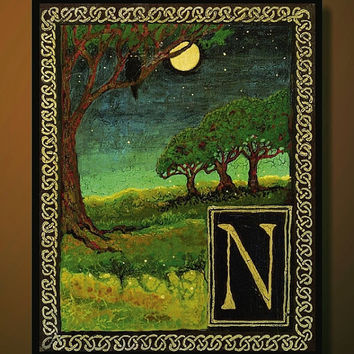 N is for Night Medieval Alphabet Letter 8x10 by EmilyBalivet