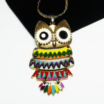 Vintage Mod Owl Pendant Necklace - Vintage 1960's Bird in Bright Rainbow Colors - Very Cool Man!