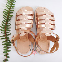 ON SALE Gladiator Kids / Girls / Baby Sandals / Genuine Greek Leather / Stripes Sandals/Pink Gold/Copper Color/Slingback Slides Strap Sandal